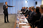 United States President Barack Obama makes remarks and answers questions from a group of business leaders at the quarterly meeting of the Business Roundtable at the Business Roundtable Headquarters in Washington, Wednesday, Sept. 16, 2015.<br /> Credit: Martin H. Simon / Pool via CNP
