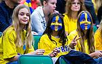 S&ouml;dert&auml;lje 2015-11-21 Basket EM-kval Sverige - Spanien :  <br /> Sveriges supportrar med m&aring;lade ansikten inf&ouml;r matchen mellan Sverige och Spanien <br /> (Foto: Kenta J&ouml;nsson) Nyckelord:  T&auml;ljehallen Basket Landslag Landslaget Dam Damer Dambasket Dambasketlandslaget Basketlandslaget Sverige Sweden Svenska EM Kval EM-kval Spanien Spain Spanska supporter fans publik supporters