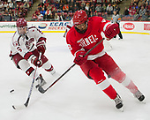 Luke Esposito (Harvard - 9), Noah Bauld (Cornell - 9) - The Harvard University Crimson defeated the visiting Cornell University Big Red on Saturday, November 5, 2016, at the Bright-Landry Hockey Center in Boston, Massachusetts.