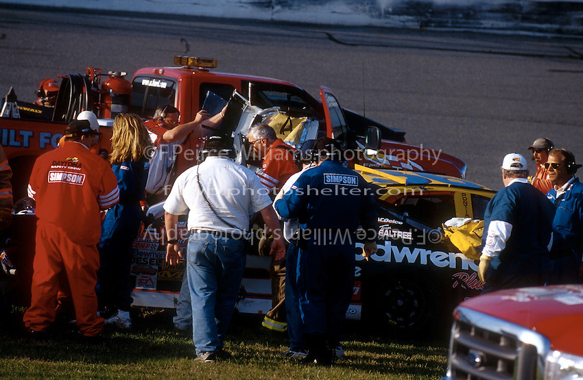 Dale Earnhardt Crash Frame 12.Rescue and Safty Personel prepare to remove Earnhardt's car from the scene..NASCAR Winston Cup Daytona 500 18 Feb.2001 Daytona International Speedway, Daytona Beach,Florida,USA .© F. Peirce Williams .photography 2001...F.Peirce Williams Photography.P.Box 455 Eaton, OH 45320.317.358.7326  fpwp@mac.com
