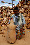 .Mashed dates are stored for years in a goatskin bag. Socotra. Yemen