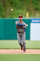 Lehigh Valley IronPigs shortstop Dean Anna (8) throws to first base during a game against the Syracuse Chiefs on May 20, 2018 at NBT Bank Stadium in Syracuse, New York.  Lehigh Valley defeated Syracuse 5-2.  (Mike Janes/Four Seam Images)