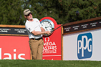 Miguel Angel Jimenez (ESP) watches his tee shot on the 14th hole during second round at the Omega European Masters, Golf Club Crans-sur-Sierre, Crans-Montana, Valais, Switzerland. 30/08/19.<br /> Picture Stefano DiMaria / Golffile.ie<br /> <br /> All photo usage must carry mandatory copyright credit (© Golffile | Stefano DiMaria)