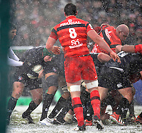 Leicester, England. Thomas Waldrom of Leicester Tigers carries the ball during the Heineken Cup match between Leicester Tigers and Toulouse  at Welford Road on January  20. 2013 in Leicester, England..
