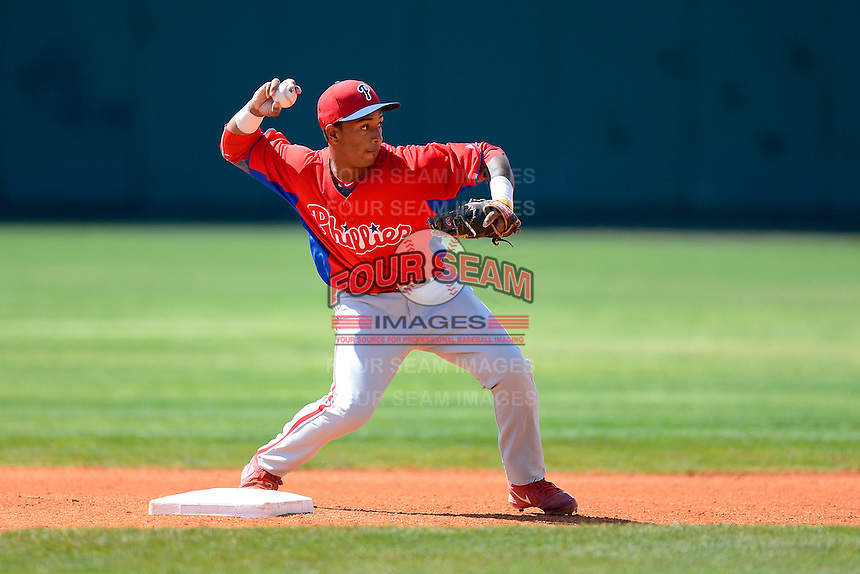 Philadelphia Phillies infielder Angelo Mora (28) during practice before a minor league Spring Training game against the Atlanta Braves at Al Lang Field on March 14, 2013 in St. Petersburg, Florida.  (Mike Janes/Four Seam Images)