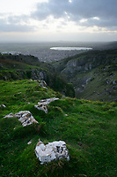 The view from the top of Cheddar Gorge, Cheddar, UK, October 16, 2017. Spectacular Cheddar Gorge features the highest inland cliffs in the UK. The nearby village of Cheddar is also the birthplace of the eponymous cheese.