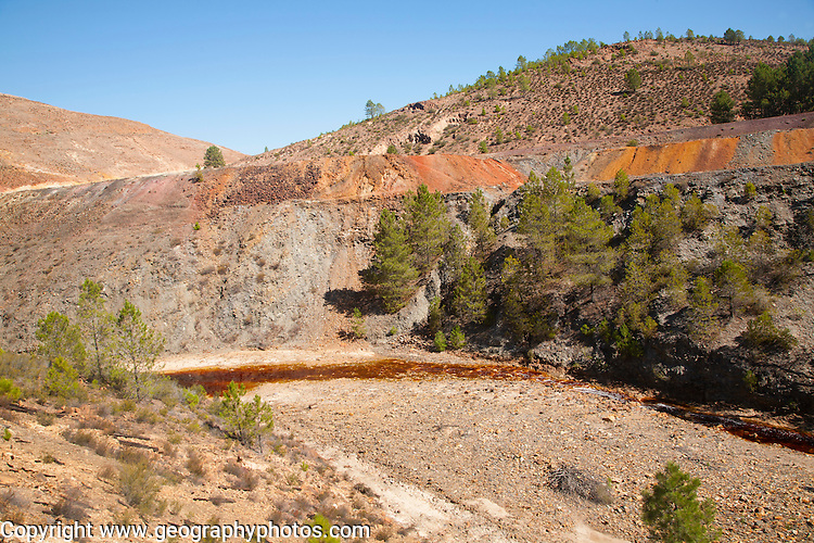Blood red mineral laden water in the Rio Tinto river in the Minas de Riotinto mining area, Huelva province, Spain