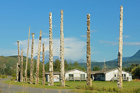 Kitwanga Totem Poles. Gitwangak or Gitwangax. Gitanyow. Gitksan people. Northwest Coast First Nations. Nass Range of mountains , Kitwanga, British Columbia, Canada