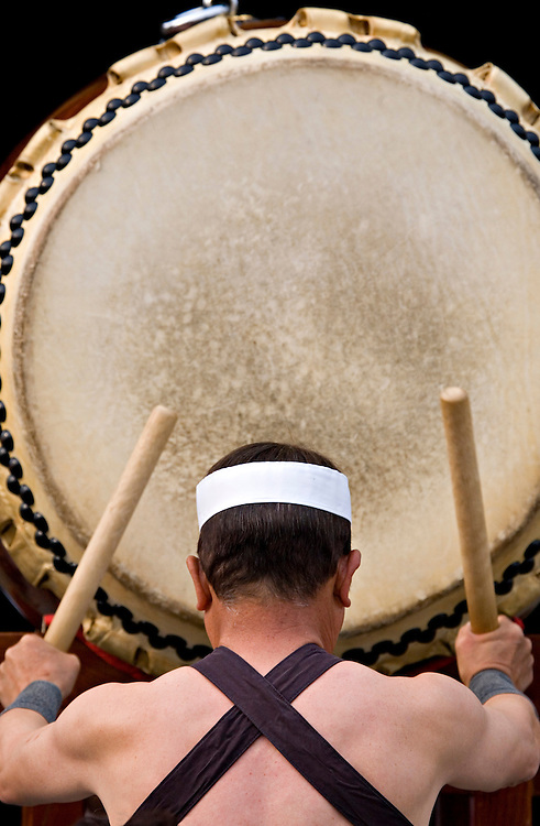 A taiko drummer pounds out a deep heartfelt beat during a Sekku Matsuri, or Seasonal Festival, performance in Kasai-City