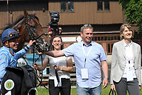 13th June 2020, Dresden, Saxony, Germany, State horse racing;  Namwith Vladimir Panov, coach Dominik Moser and owner Petra Stucke on the right after winning the Grand Prix of the state capital Dresden
