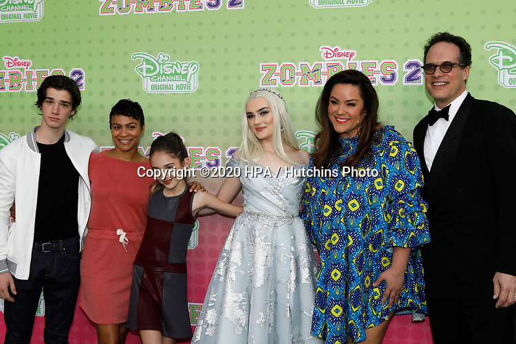 """LOS ANGELES - JAN 25:  Daniel DiMaggio, Carly Hughes, Julia Butters, Meg Donnelly, Katy Mixon, Diedrich Bader at the """"Zombies 2"""" Screening at the Disney Studios on January 25, 2020 in Burbank, CA"""