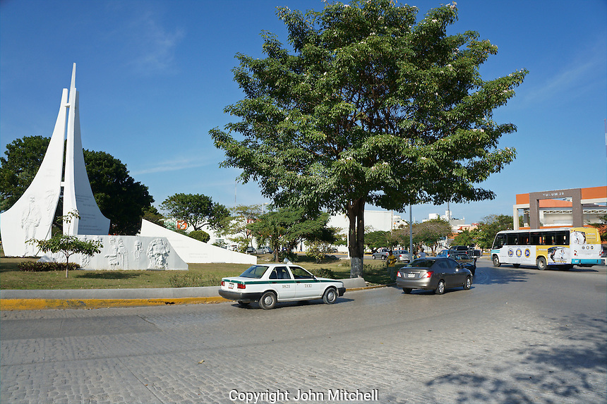 Traffic roundabout or glorieta on Avenida Tulum in downtown, Cancun, Quintana Roo, Mexico.