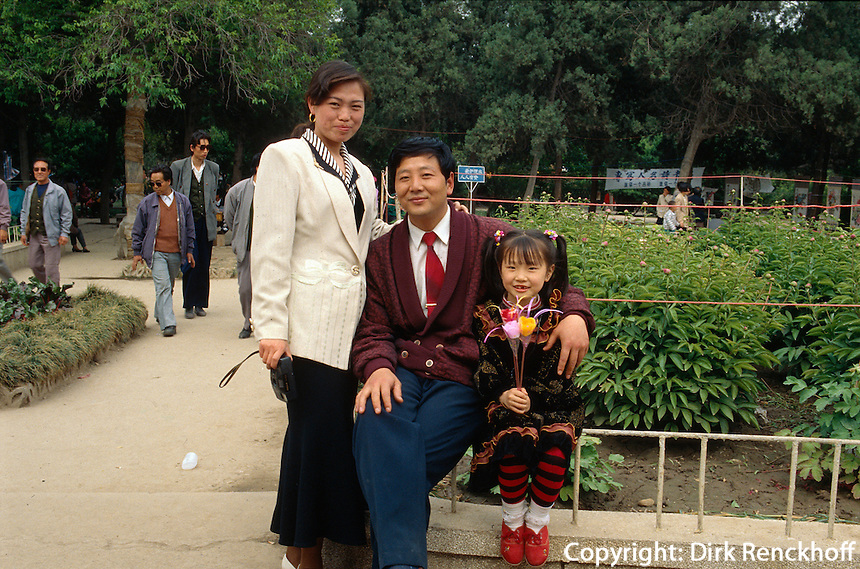 China, Luoyang, 1 Kind-Familie im Wang Cheng-Park