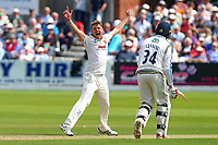 Jamie Porter of Essex claims the wicket of Andrew Hodd during Yorkshire CCC vs Essex CCC, Specsavers County Championship Division 1 Cricket at Scarborough CC, North Marine Road on 7th August 2017