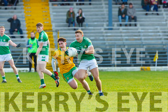 JAmes O'Donoghue Legion makes a burst through the Gneeveguilla defence during the East Kerry semi final in Fitzgerald Stadium on Sunday