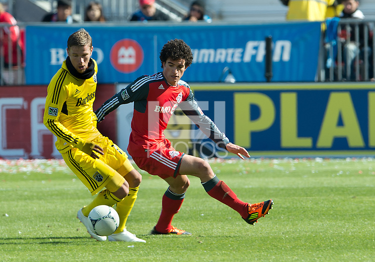 31 March 2011: Columbus Crew forward Olman Vargas #17 and Toronto FC defender Logan Emory #2in action during a game between the Columbus Crew and the Toronto FC at BMO Field in Toronto, Ontario Canada..The Columbus Crew won 1-0.