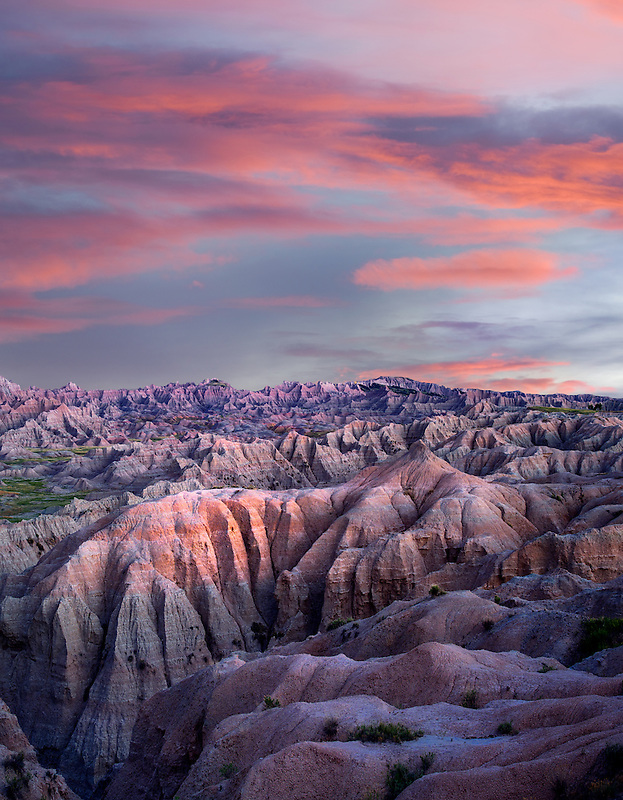 Colorful formations in Badlands National Park, South Dakota