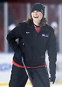 Cheryl Blauth (NU - Athletic Trainer) - The Northeastern University Huskies practice on the ice at Fenway Park on Thursday, January 7, 2010, in Boston, Massachusetts.