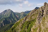The peak of Mount Gongen in the Yatsugatake range.