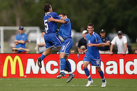 Christian Velez (3) of the Academy Select Team celebrates scoring with teammates. The US U-17 Men's National Team defeated the Development Academy Select Team 5-3 during day two of the US Soccer Development Academy  Spring Showcase in Sarasota, FL, on May 23, 2009.