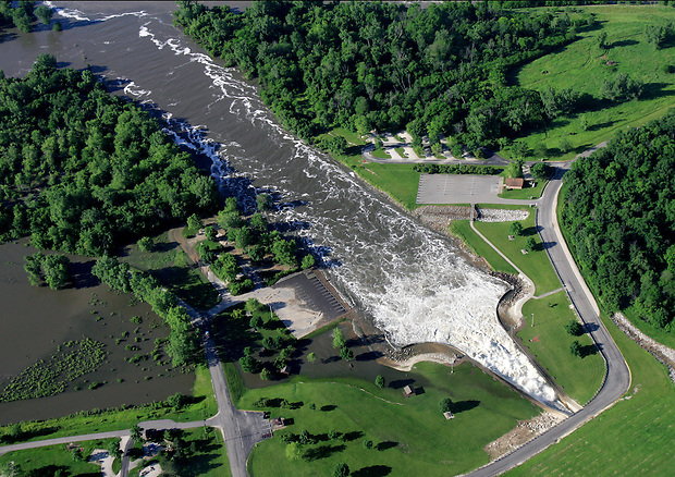 The Saylorville Lake Spillway releases massive amoints of water during a period of flooding Saturday, June 14, 2008.