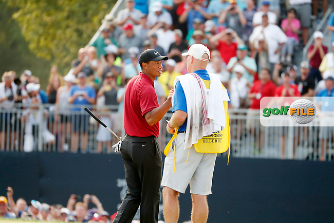 Tiger Woods (USA) shakes hands with his caddie Joe LaCava after finishing on the 18th hole during the final round of the 100th PGA Championship at Bellerive Country Club, St. Louis, Missouri, USA. 8/12/2018.<br /> Picture: Golffile.ie | Brian Spurlock<br /> <br /> All photo usage must carry mandatory copyright credit (© Golffile | Brian Spurlock)