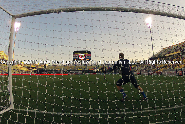 11 September 2012: U.S. goalkeeper Brad Guzan (foreground) takes some kicks from goalkeeper coach Chris Woods (ENG). The United States Men's National Team defeated the Jamaica Men's National Team 1-0 at Columbus Crew Stadium in Columbus, Ohio in a CONCACAF Third Round World Cup Qualifying match for the FIFA 2014 Brazil World Cup.
