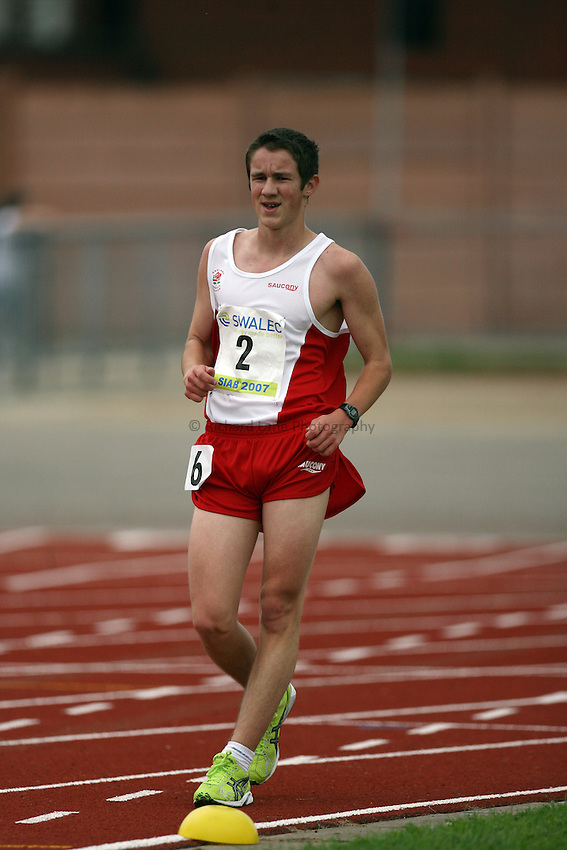 Photo: Rich Eaton...Schools International Athletic Board, Track & Field International Match, Newport. 21/07/2007. Alex Wright of England competes in the boys 3000m walk.