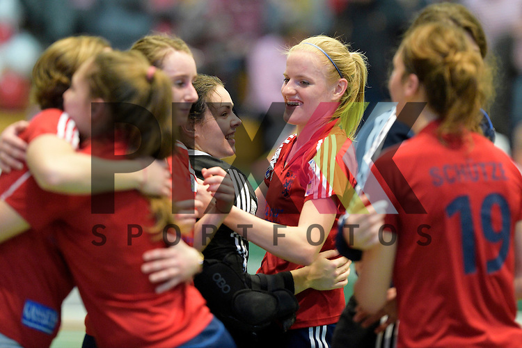 GER - Luebeck, Germany, February 06: After the 1. Bundesliga Damen indoor hockey semi final match at the Final 4 between Berliner HC (blue) and Duesseldorfer HC (red) on February 6, 2016 at Hansehalle Luebeck in Luebeck, Germany. Final score 1-3 (HT 0-1).  (c) Annika Sprink #3 of Duesseldorfer HC<br /> <br /> Foto &copy; PIX-Sportfotos *** Foto ist honorarpflichtig! *** Auf Anfrage in hoeherer Qualitaet/Aufloesung. Belegexemplar erbeten. Veroeffentlichung ausschliesslich fuer journalistisch-publizistische Zwecke. For editorial use only.