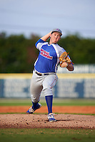 College of Central Florida Patriots starting pitcher Nate Pearson (23) delivers a pitch during a game against the SCF Manatees on February 8, 2017 at Robert C. Wynn Field in Bradenton, Florida.  SCF defeated Central Florida 6-5 in eleven innings.  (Mike Janes/Four Seam Images)
