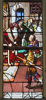 The Emperor talks to a soldier with a sword, from the Scenes of the Life and Martyrdom of Saints Crispin and Crispinian stained glass window, attributed to Nicolas le Prince, donated in 1530 by the cobblers guild in Gisors, in the Collegiate Church of Saint-Gervais-Saint-Protais, built 12th to 16th centuries in Gothic and Renaissance styles, in Gisors, Eure, Haute-Normandie, France. The church was consecrated in 1119 by Calixtus II but the nave was rebuilt from 1160 after a fire. The church was listed as a historic monument in 1840. Picture by Manuel Cohen