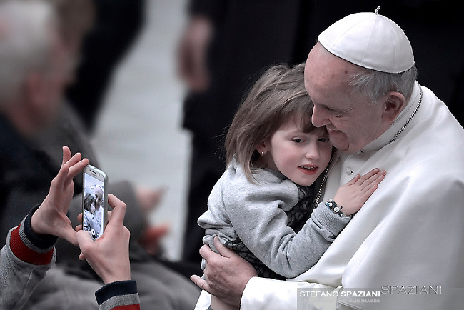 Pope Francis during general audience at the Paul VI hall at the Vatican,January 20, 2016