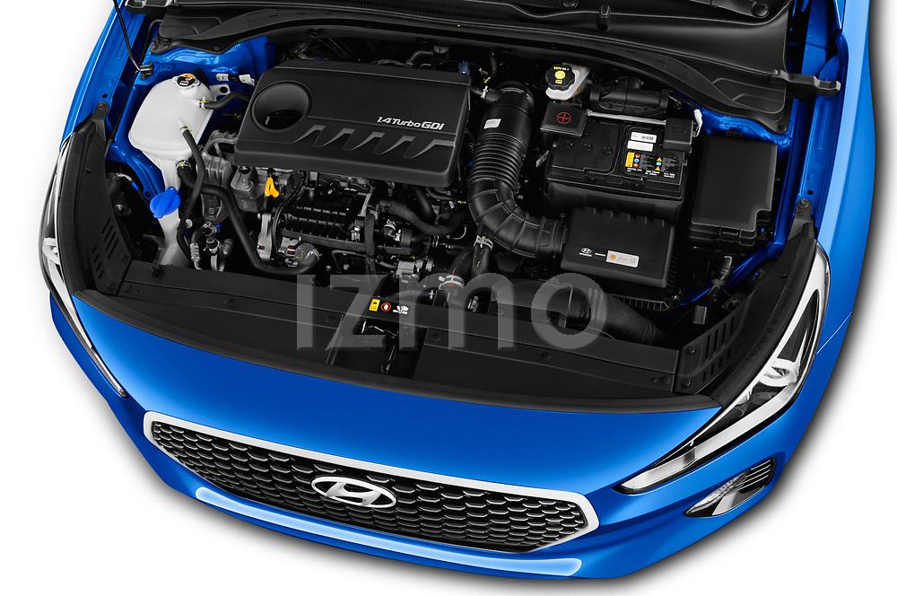 Car stock 2018 Hyundai i30 Sky 5 Door Wagon engine high angle detail view