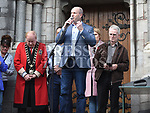 Cllr Pio Smith speaking at the rally against voilence in the town. Photo:Colin Bell/pressphotos.ie