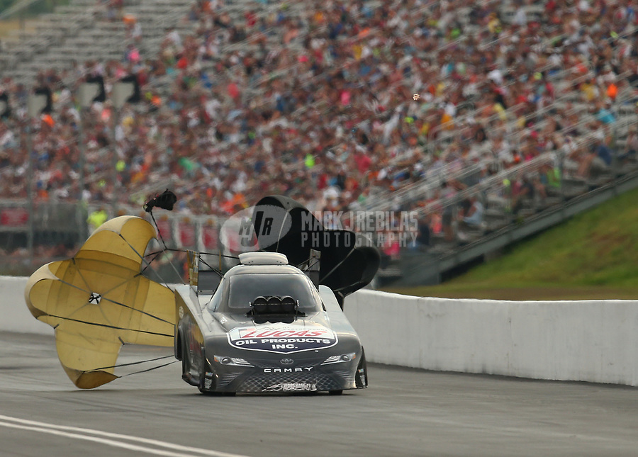 Jun 17, 2017; Bristol, TN, USA; NHRA funny car driver Del Worsham during qualifying for the Thunder Valley Nationals at Bristol Dragway. Mandatory Credit: Mark J. Rebilas-USA TODAY Sports