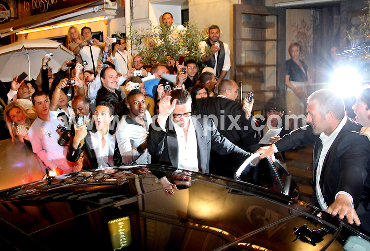 **ALL ROUND PICTURES FROM SOLARPIX.COM**                                             **UK AND SPAIN SYNDICATION RIGHTS ONLY**                                                                                  Caption: Brad Pitt and Angelia Jolie leaving the restaurant l'affable during the 64th Cannes Film Festival, Cannes, France. 16 May 2011                                                                              This pic: Brad Pitt                                                                                            JOB REF: 13353 CPR       DATE: 16_05_2011                                                           **MUST CREDIT SOLARPIX.COM OR DOUBLE FEE WILL BE CHARGED**                                                                      **MUST AGREE FEE BEFORE ONLINE USAGE**                               **CALL US ON: +34 952 811 768 or LOW RATE FROM UK 0844 617 7637**