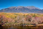 Autumn colors Mt Katahdin and Baxter State Park over the Penobscot River, Baxter State Park, ME, USA