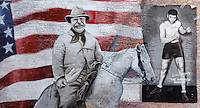 Mural depicting Theodore Roosevelt, 1858-1919, 26th President of the United States, on horseback in front of the American flag, and the American boxer Jack Dempsey, 'the Manassa Mauler', in downtown Denver near the Denver Convention Center, Colorado, USA. Dempsey was World Heavyweight Champion 1919-26 and was born in Manassa, Colorado. This street art was sponsored in 2008 by the Bubba Gump Shrimp Company. Picture by Manuel Cohen