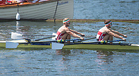 """Henley on Thames, United Kingdom, 7th July 2018, Friday, View,  Paul and Gary O'DONOVAN, """"Double Sculls Challenge Cup"""", from the """"Regatta Enclosure, """"Fourth day"""", of the annual,  """"Henley Royal Regatta"""", Henley Reach, River Thames, Thames Valley, England, © Peter SPURRIER,"""
