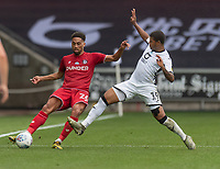 Bristol City's Zak Vyner (left) is tackled by Swansea City's Rhian Brewster (right) <br /> <br /> Photographer David Horton/CameraSport<br /> <br /> The EFL Sky Bet Championship - Swansea City v Bristol City- Saturday 18th July 2020 - Liberty Stadium - Swansea<br /> <br /> World Copyright © 2019 CameraSport. All rights reserved. 43 Linden Ave. Countesthorpe. Leicester. England. LE8 5PG - Tel: +44 (0) 116 277 4147 - admin@camerasport.com - www.camerasport.com