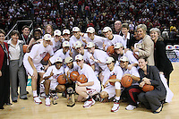 10 March 2008: Stanford Cardinal (not in order) Melanie Murphy, Jayne Appel, Michelle Harrison, JJ Hones, Candice Wiggins, Cissy Pierce, Kayla Pedersen, Hannah Donaghe, Rosalyn Gold-Onwude, Jeanette Pohlen, Ashley Cimino, Morgan Clyburn, Jillian Harmon, head coach Tara VanDerveer, Eileen Roche, Aaron Juarez, Bobbie Kelsey, Evan Unrau, Scott Schuhmann, Amy Tucker, Marcella Shorty, Kate Paye, Elaine Lambert, and Kelly Clark during Stanford's 56-35 win against the California Golden Bears in the 2008 State Farm Pac-10 Women's Basketball championship game at HP Pavilion in San Jose, CA.