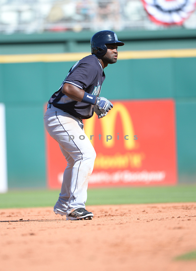 Seattle Mariners Julio Morban (70) during a spring training game against the Cincinnati Reds on March 8, 2015 at Goodyear Ballpark in Goodyear, AZ. The Reds beat the Mariners 10-1.