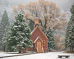 Yosemite National Park, CA: Yosemite Valley Chapel (1879) in with snow falling. It is the oldest structure in Yosemite Valley.
