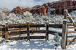 Cattle corral in Sedona, AZ after a snowfall