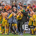 15 November 2015: University of Vermont Catamount Forward Eamon Kitson, a Sophomore from Rumson, NJ, shows great emotion as he is lifted in a celebratory hug after the America East Championship game against the Binghamton University Bearcats at Virtue Field in Burlington, Vermont. The Catamounts shut out the Bearcats 1-0 in the America East Championship Game. Mandatory Credit: Ed Wolfstein Photo *** RAW (NEF) Image File Available ***