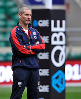 Twickenham, England England head coach Stuart Lancaster looks on during the England captains run for the QBE Internationals England v Fiji at Twickenham Stadium on 10 November. Twickenham, England, November 9. 2012.