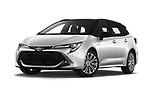 Stock pictures of low aggressive front three quarter view of 2019 Toyota Corolla-TS-hybrid Style 5 Door Wagon Low Aggressive