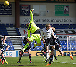 Ross County v St Johnstone…..30.04.16  Global Energy Stadium, Dingwall<br />Scott Fox tips David Wotherspoon's free kick over the bar<br />Picture by Graeme Hart.<br />Copyright Perthshire Picture Agency<br />Tel: 01738 623350  Mobile: 07990 594431