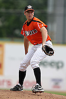 Erie Seawolves Starting Pitcher Anthony Shawler during a game vs. the Trenton Thunder at Jerry Uht Park in Erie, Pennsylvania;  June 24, 2010.   Trenton defeated Erie 11-2  Photo By Mike Janes/Four Seam Images