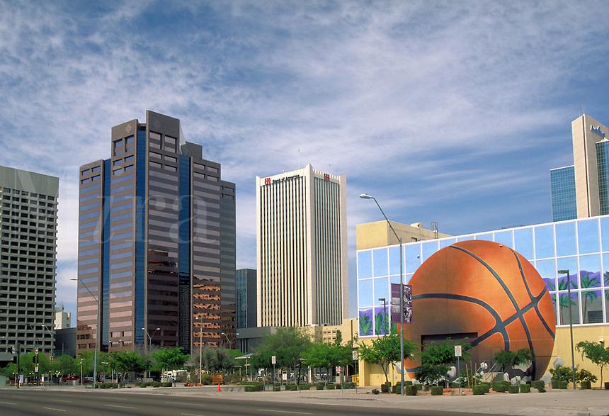 View of downtown Phoenix, AZ from Jefferson St. Phoenix Arizona USA.